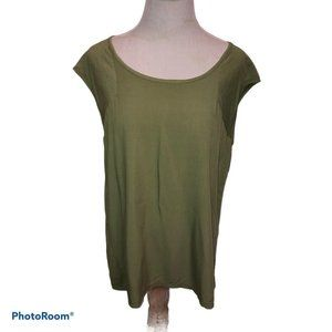 New Directions Olive Cap Sleeves Blouse Round Neck